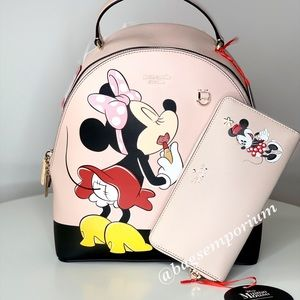 Kate Spade Minnie Mouse Leather Backpack 2PC Set